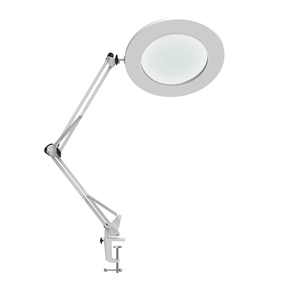 "LED Magnifying Table Lamp Metal Clamp Swing Arm Desk Lamp Stepless Dimming 3Colors 7W  ,Magnifier LED lamp 3X,4.1""Diameter Lens"