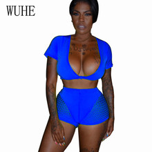 WUHE Female Casual Sports Two Pieces Sets Bodycon Playsuits Sexy Deep V Neck Short Sleeve Patchwork Grid Summer Jumpsuits