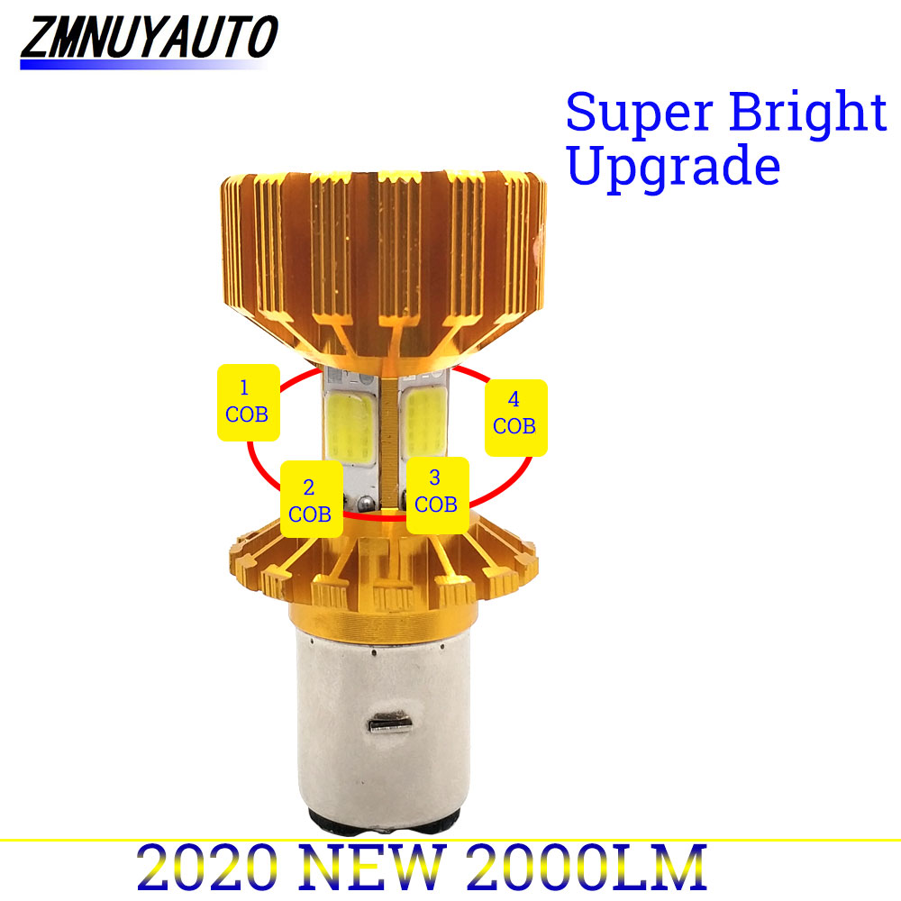 H6 BA20D Motorecycle  Headlight Led Bulb 4 Sides COB Chips 2000Lm Super Bright 6000K 12W Motorcycle Headlamp Scooter Accessories