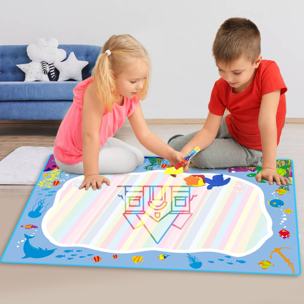 74X49CM Water Drawing Mat Rug With Magic Pen Doodle Board Carpet Painting Educational Toys For Kids