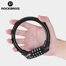 ROCKBROS Bike Bicycle Lock PVC Soft Steel Cable Zinc Alloy Cylinder Password Lock Mini Motorcycle Helmet Lock Bike Accessories