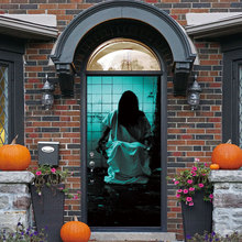 Halloween Terror Wall Stickers Decoration 3D Door Sticker Female Ghost In Ruins Mural Decor Removable