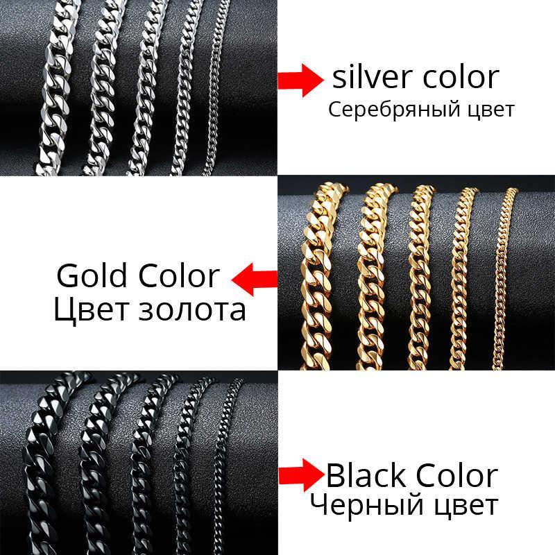 Solidny metalowy łańcuszek ze stali nierdzewnej łańcuchy bransoletka dla mężczyzn płaski kubański Link czarny srebrny złoty kolor Boyfrien 3mm-11mm