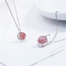 S925 Sterling Silver Crescent Strawberry Crystal Lucky Necklace Female Sweet Hollow Pink Clavicle Chain Jewelry
