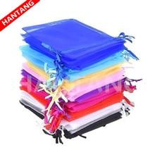 100 個梱包 Drawable のオーガンザバッグ 7x9 9 × 12 10 × 15 13 × 18 17 × 23 センチメートルギフトバッグ小袋オーガンザのウェディング/聖体デコ 5z
