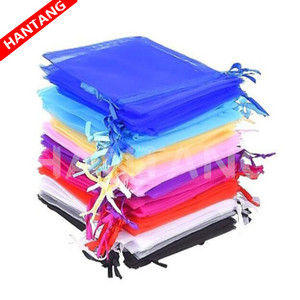 100Pcs Jewelry Bags Packing Drawable Organza Bags 7x9 9x12 10x15 13x18 17x23cm Gift Bag Sachet Organza Wedding/Communion Deco 5z(China)