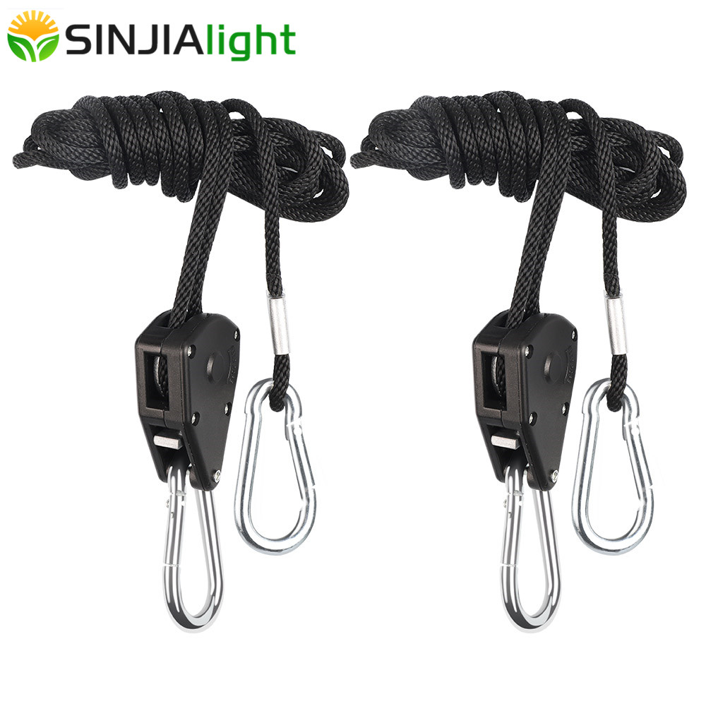 2pcs/4pcs 1/8 Inch Nylon Rope Ratchet Hangers Adjustable Lifters Light Hanging Kit For LED Grow Light Grow Tent Room