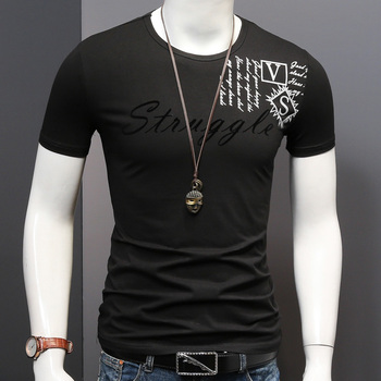 Men Short Sleeve Black T-Shirt Fashion Letter Printed Stretch Cotton Slim Fit Tshirt Summer O-Neck Tops Tees ood monster tshirt men s t shirt prevailing father day short sleeve round collar cotton fabric tops tees classic octopus t shirt