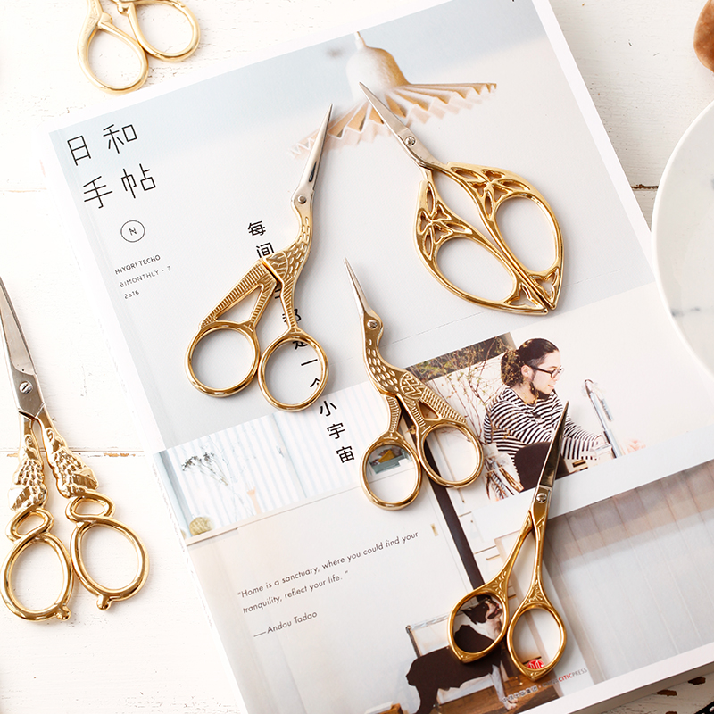 Antique Craft Stainless Scissors Vintage Scissors Golden Tone DIY Tools Handmade Creative Scissors