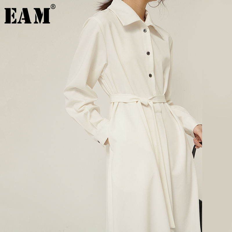 [EAM] Women White Button Split Temperament Shirt Dress New Lapel Long Sleeve Loose Fit Fashion Tide Spring Autumn 2020 1R160
