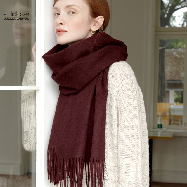 Solidlove 100% Wool Winter Scarf Women Scarves Adult Solid  Luxury Autumn Fashion Designer Scarf  Poncho Scarfs for Ladies Wrap 4