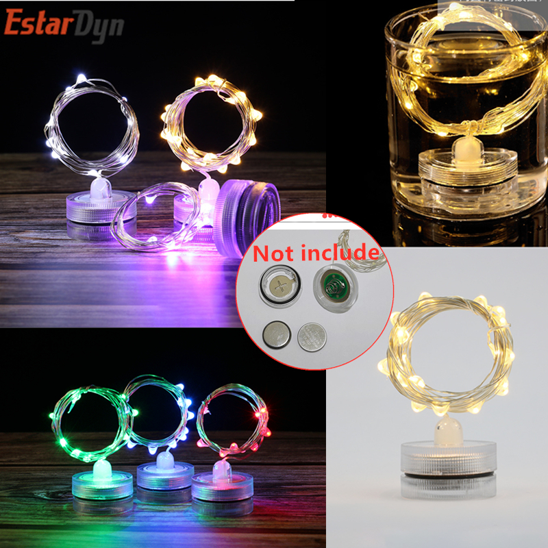 IP65 Waterproof 1m 2m LED Garland Copper And Silver Wire String Lamp 10 20 LED Diving Battery Box For Holiday Guirl Not Battery