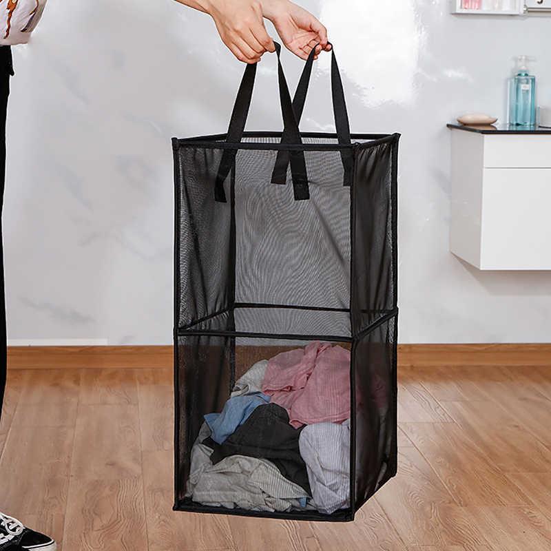 Spielzeug box Schmutzige Wäsche Korb Kleidung Lagerung Korb Für Verschmutzte Kleidung Faltbare Magic Box Doppel-deck Mesh Transparent Fall