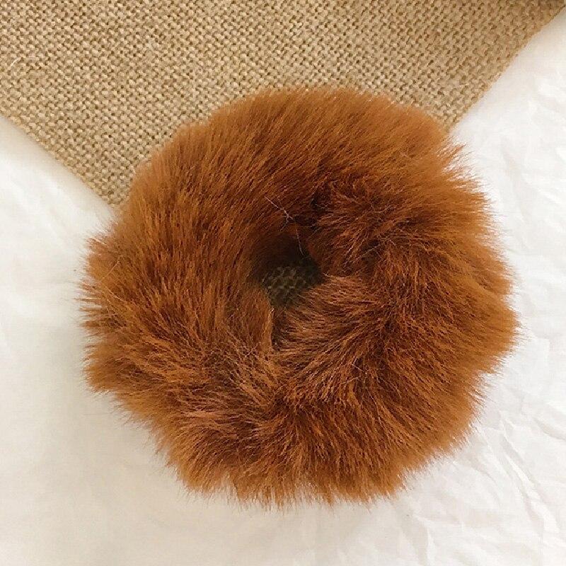 Новые зимние теплые мягкие резинки из кроличьего меха для женщин и девушек, эластичные резинки для волос, плюшевая повязка для волос, резинки, аксессуары для волос - Цвет: 32
