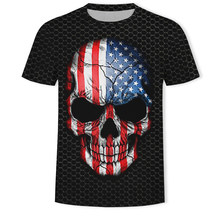2019 New Flag Fashion Skull American/Canadian/French/German/Spanish/Brazil black 3d print Short-sleeved casual tee shirt homme