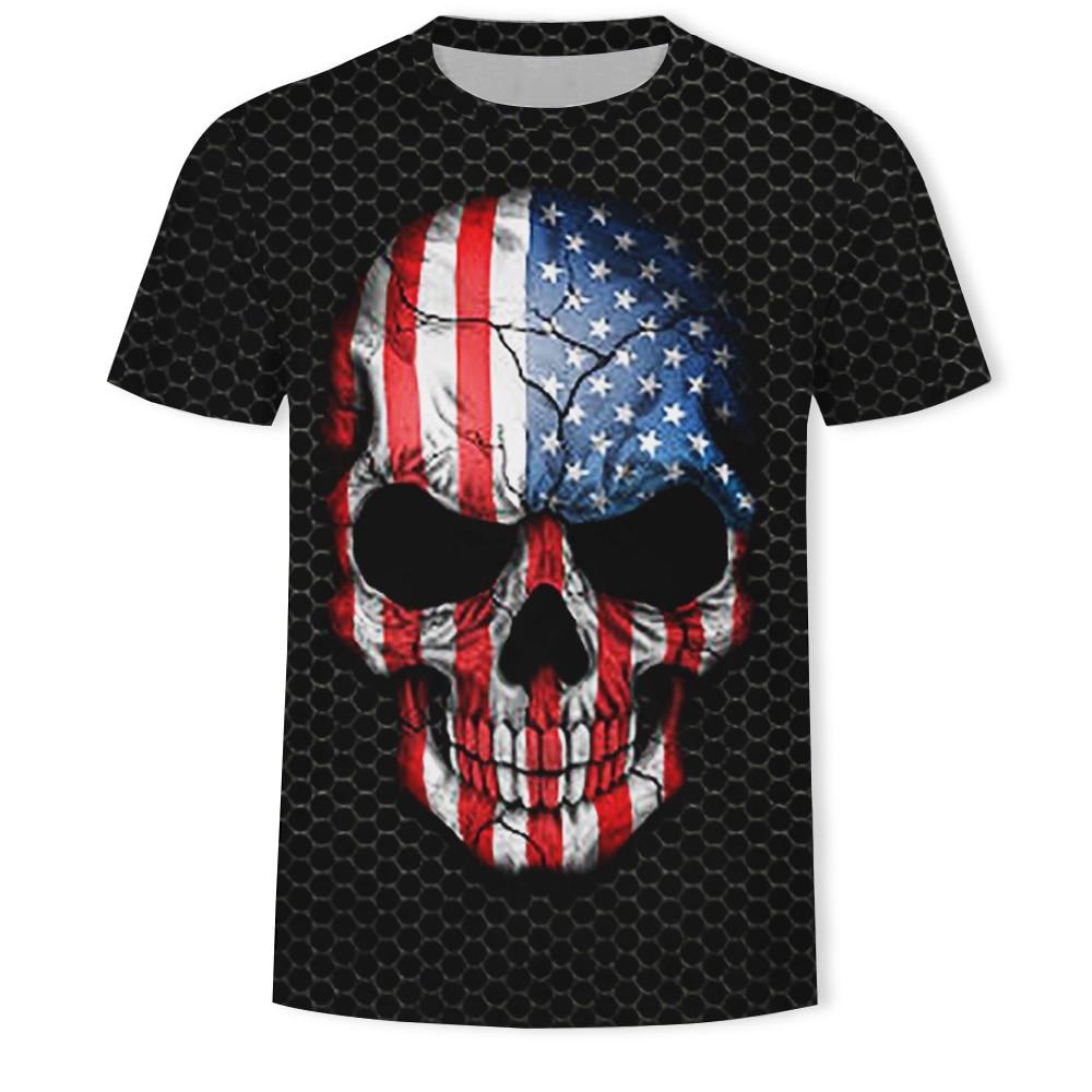 2019 nova bandeira moda crânio americano/canadense/francês/alemão/espanhol/brasil preto 3d impressão curto-mangas compridas casual camisa t homme