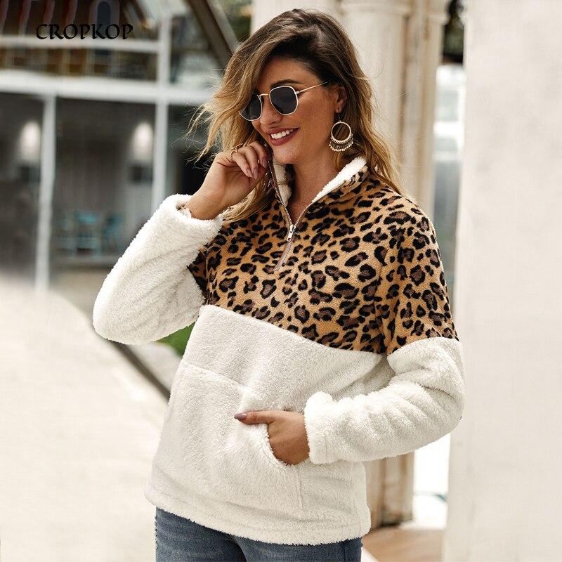 2019 Leopard Patchwork Faux Fur Fleece Oversized Sweatshirt Women Pockets Warm Winter Casual Zipper Pullover Hoodies Sherpa Tops