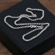 4mm chain Men Women 925 sterling silver necklace pendant fine Vintage jewelry  New Arrival Thai sports