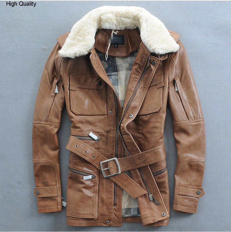 Fashion Multi-pocket Lambswool Turn-down Collar Sheep Skin Genuine Leather Jacket In The Long Section Mans Clothing Slim Fit