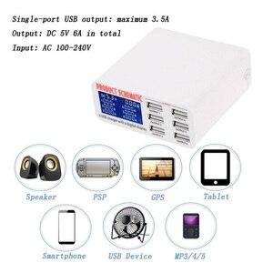 Image 3 - USB del Caricatore di 6 Porte HUB Display A LED Intelligente Del Telefono Mobile Veloce Rapido Rapido Stazione di Carica 30W 5V/6A Viaggio di Ricarica Adattatore di Alimentazione