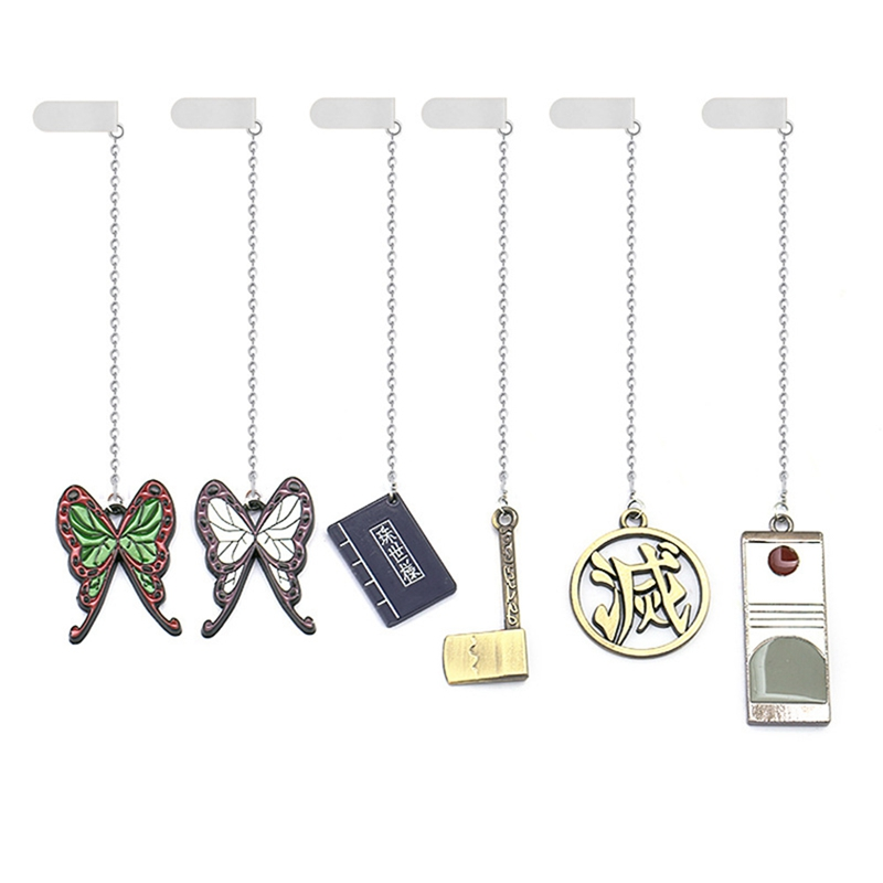 Demon Slayer Bookmarks Kimetsu No Yaiba Pendant Anime Metal Badge Long Chain Bookmark Men Charm Gifts Book Mark Jewelry
