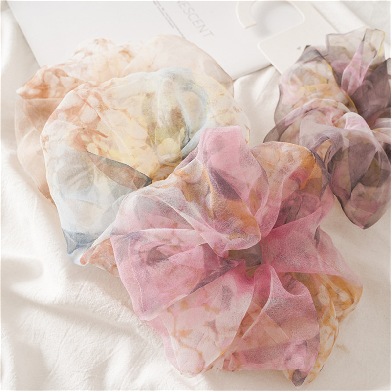 New Arrival Organza Sheer Scrunchies Floral Print Fashion Hair Ponytail Hold Elestic Hair Tie For Women Party Hair Accessories