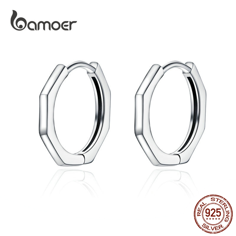 BAMOER Minimalist Geometric Hoop Earrings For Women Authentic 925 Sterling Silver Small Simple Ear Hoops Fine Jewelry SCE622