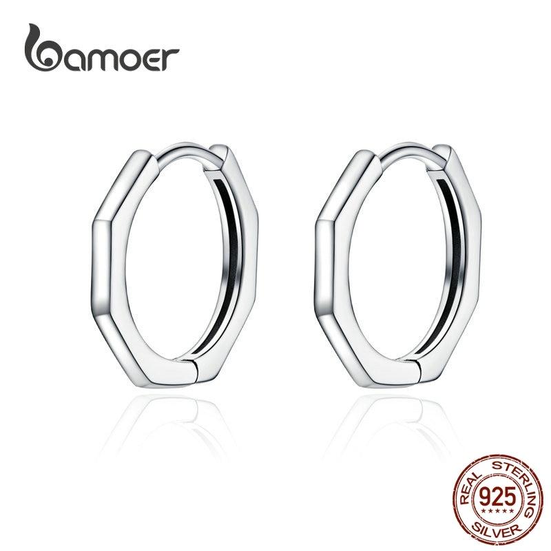 BAMOER Minimalist Geometric Hoop Earrings For Women Authentic 925 Sterling Silver Small Simple Ear Hoops Fine Jewelry SCE622