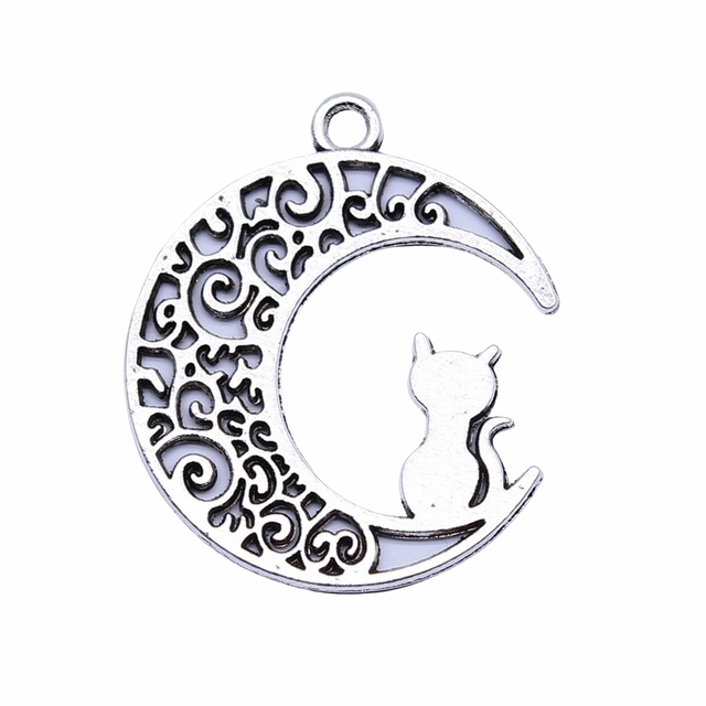 WYSIWYG 10pcs 30x26mm Antique Silver Color Moon Cat Charms Pendant For Jewelry Making DIY Jewelry Findings 2