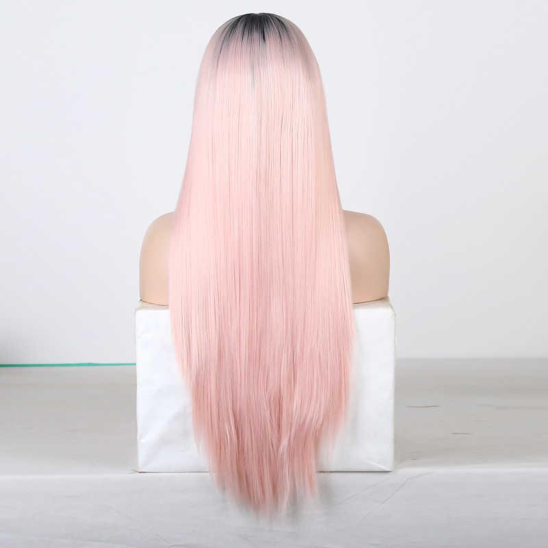 Rongduoyi longo preto mão amarrado fibra perucas de cabelo para as mulheres 13x6 peruca dianteira do laço sintético parte lateral de seda reta peruca dianteira do laço