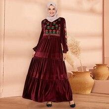 Siskakia Velvet Embroidery Long Dress Elegant Women Fashion