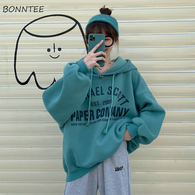Hoodies Women Letters Medium-long Warm Harajuku Bf Womens Korean Style With Pockets Students Loose Casual New Arrivals Stylish