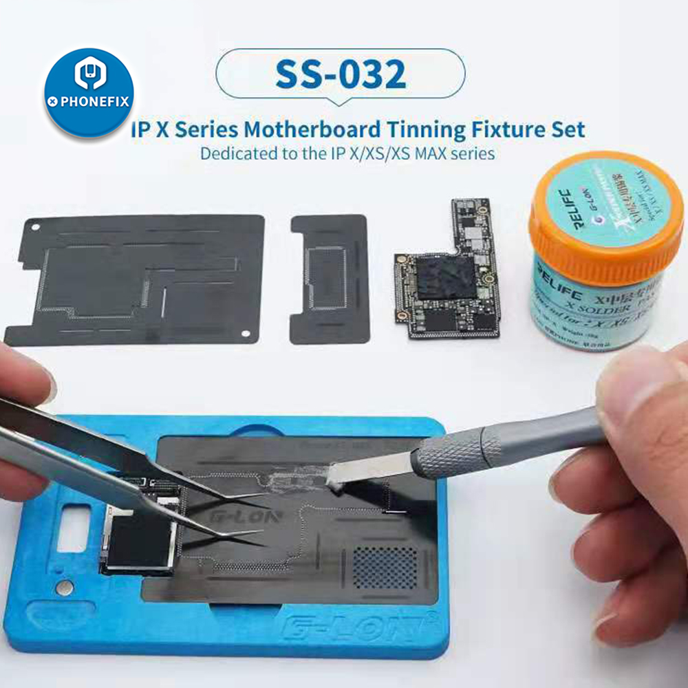 G-Lon Reballing Stencil and Solder Paste for iPhone X XS XSMAX Tinning Set with Solder Paste Welding Fluxes Mainboard Repair