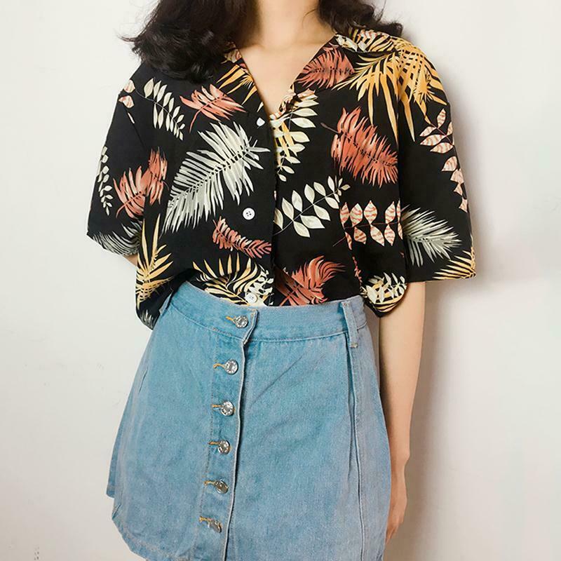 Women's Summer Casual Loose Half Sleeve Leaf Printed Tops Shirt Plus Size Ins Super Loose Hawaiian Shirt Beach Clothes New