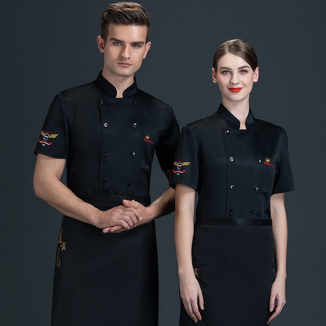 hotel chef uniform female summer short-sleeved hotpot restaurant fast food white baking master chef's kitchen equipment 4