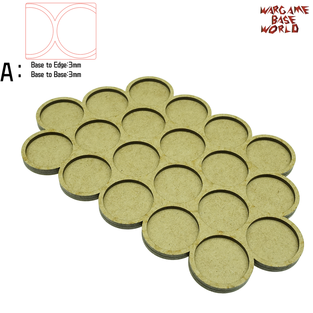 Wargame Base World - Movement Tray - 20 Bases 32mm Round - Derangements Shape MDF