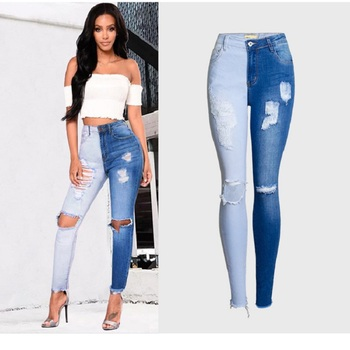 цена на Streetwear Distressed Jeans Ripped Blue Patchwork High Waisted Skinny Slim Femme Stretch Denim Pants Plus Size Womens Clothing