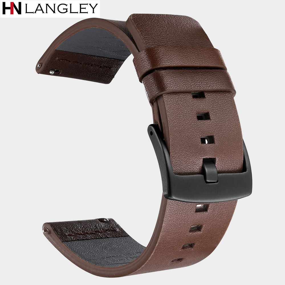 20mm 22mm Genuine <font><b>Leather</b></font> Watch band Strap for <font><b>Samsung</b></font> Galaxy Watch Active 42 <font><b>46mm</b></font> Gear S3 Watch Band Quick Release 18/24 mm image