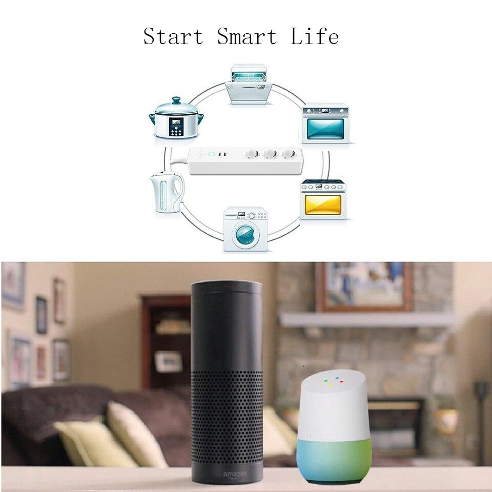 Prise de courant intelligente EU Wifi 3 prises prise 2 Port de chargement USB synchronisation Tuya App commande vocale travailler avec Alexa Google Home - 3