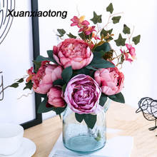 Xuanxiaotong Large 11 Head Peony Artificial Flowers Bouquet  for Fall wedding Centerpieces Decoration Home Living Decor