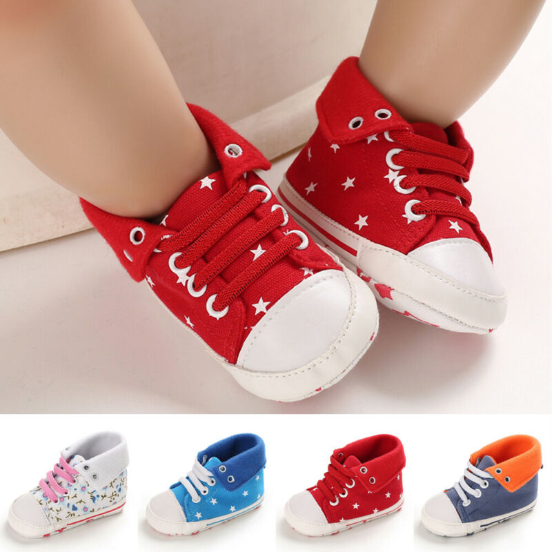 Newborn Baby Boys Girls Toddler Floral Canvas Tennis Shoes Anti-slip First Walkers High Top Skater Lace Up Sneakers 0-18M