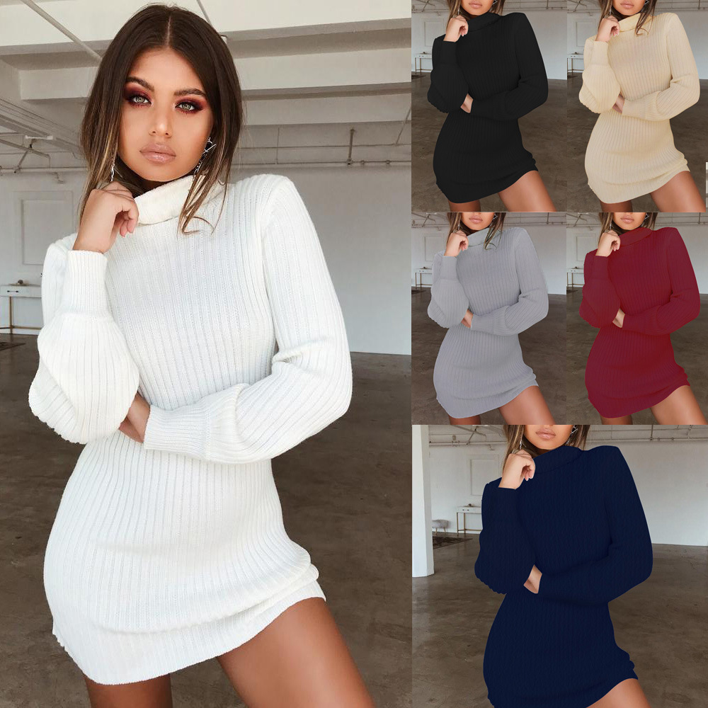 Sexy turtleneck knitted dress fall winter 2019 women's office party pencil dresses casual long sleeve white mini dress female