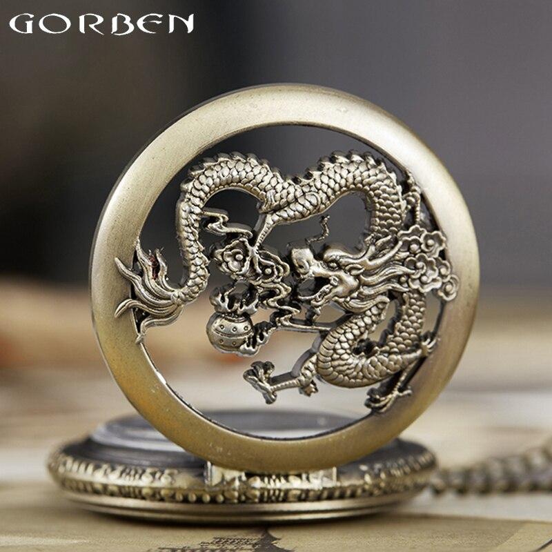 Dragon Pocket Watch Fob Chain Quartz Necklace Watches Cartoon Comics Male Open-face Clock Mens Watch Mens Reloj De Bolsillo