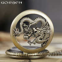 Reloj de bolsillo de dragón Cadena de cuarzo collar relojes de dibujos animados Comics hombre reloj de cara abierta hombres reloj de hombre bolsillo