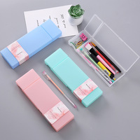 Solid Color Personality Pp Stationery Box Creative Candy Color Student Pencil Box Boutique Creative Pencil Case  Office Gift