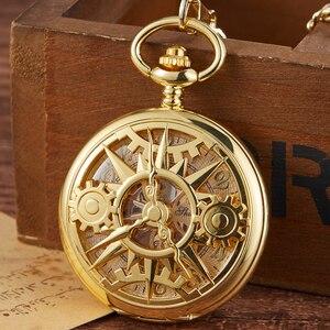 Image 4 - Retro Hohl Getriebe Gravierte Mechanische Taschenuhr Vintage Taschenuhren Bronze Gold Fob Kette Halskette Flip Handaufzug Uhr