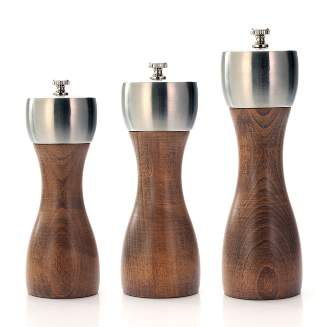Premium Beech Pepper Mill - precision carbon steel Rotor Use for peppercorn, sea salt, black pepper and more, kitchen tools
