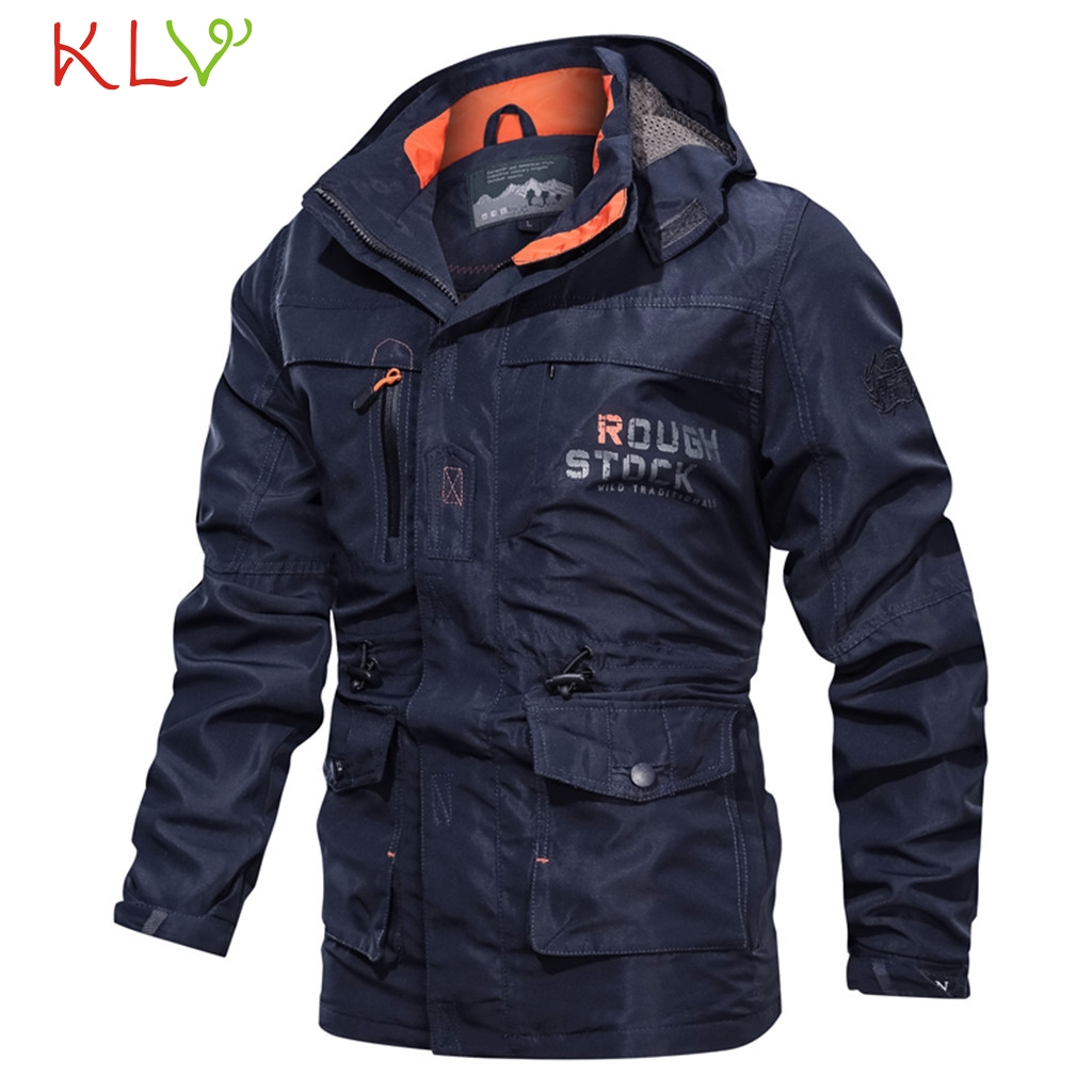 Jackets Tops for Men Zipper Vintage Solid Windproof Cardigan Winter Casual Coats with Pockets Military Style Outwear