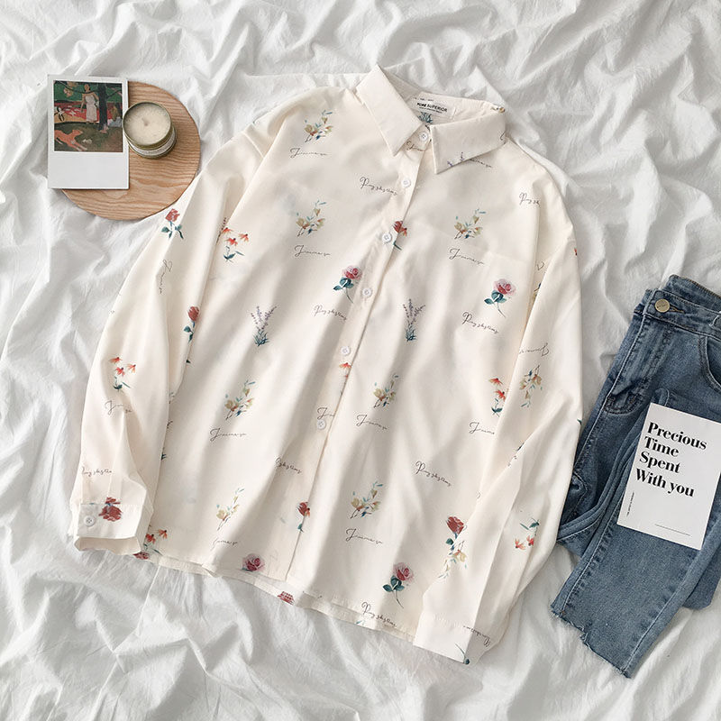 2020 Spring Flower Print Blouse Women Autumn Fashion Single Breasted Long Sleeve Female Blusa Fresh Korean Ladies Shirt Top