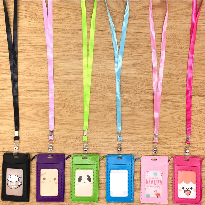 Pu Leather Id Holders Case PU Business Badge Card Holder with Necklace Lanyard Student Coin Purse Zipper Bag(China)